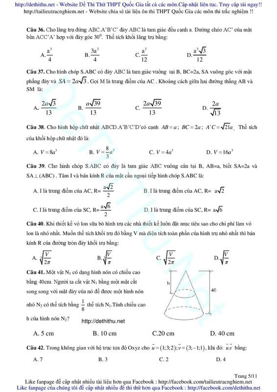 Đề thi thử Toán 2017 sở GD Hà Tĩnh đáp án giải 1 số câu khó